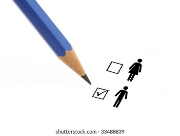 Blue pencil choosing option man instead of woman on a questionnaire