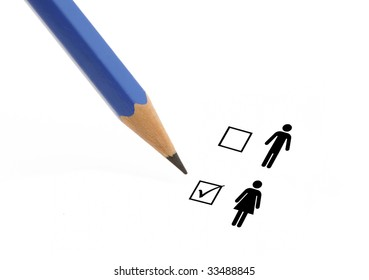 Blue pencil choosing option woman instead of man on a questionnaire