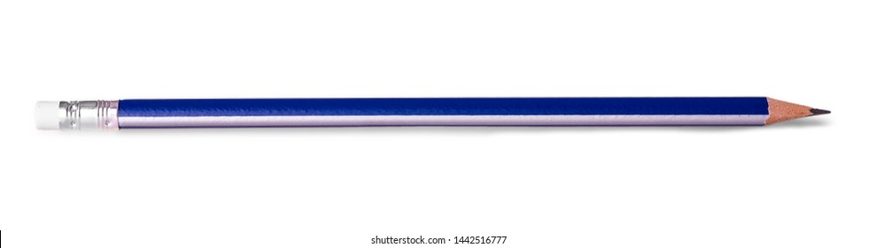 Blue pencil with eraser isolated on white background