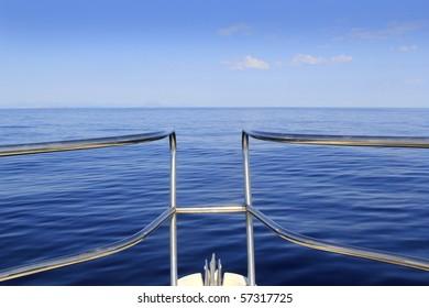 blue perfect sea cruising boat bow horizontal calm ocean