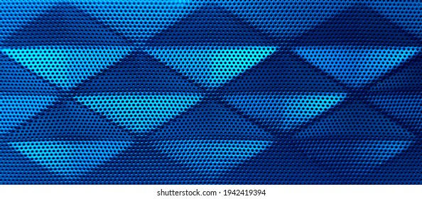 Blue Perforated metal surface,Blue  grating for background,Steel with black hole grilles,Blue metal grid wicker texture,Protective grating surface