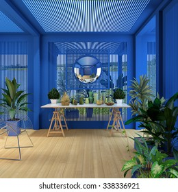 blue pergola with plants and mirror 3d Rendering