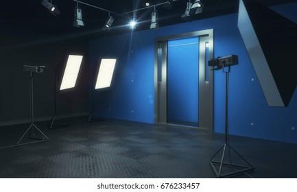Blue photo studio with lighting equipment. 3D Rendering