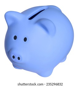 Blue a piggy bank isolated on white background with Clipping Path