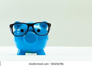 Blue piggy bank or money box