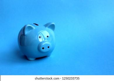blue piggy piggy bank on a blue background