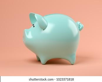 Blue piggy bank on pink background 3D illustration