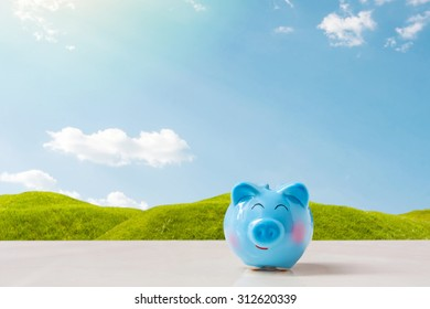 blue piggy bank on stone table over blurred grass field with clear blue sky background. saving,money concept.