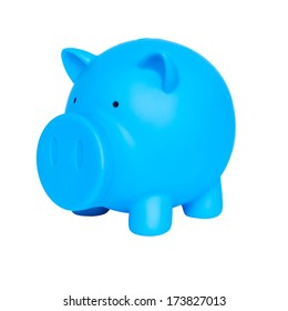 Blue piggy bank on white background