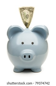 Blue piggy bank with one dollar bill isolated on white background.