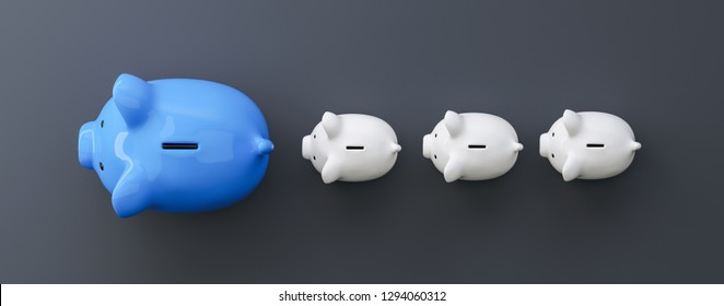 blue piggy bank as row leader, investment and development concept