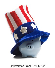 Blue piggy bank wearing patriot hat. Saving for the tax