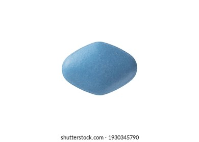 Blue pill on white background. Erectile Dysfunction Pill. Mans health and sexual problems. Male power and libido.