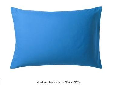Blaues Kissen einzeln auf weißem Hintergrund. Draufsicht eines weichen bunten Kissen mit Kopienraum für Tex oder Bild