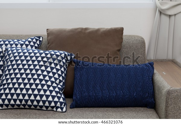 Blue Pillows Brown Sofa Home Stock Photo Edit Now 466321076