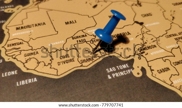 Blue Pin On Map Ghana Stock Photo (Edit Now) 779707741