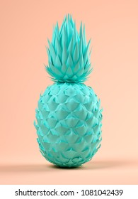 blue pineapple on pink background 3D rendering