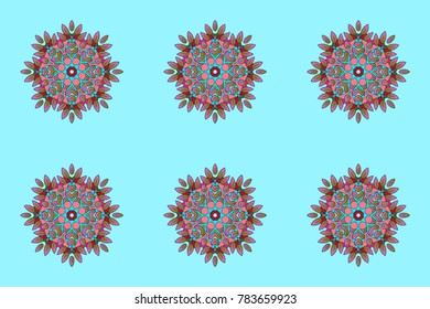 Blue, pink and brown snowflakes on a blue, pink and brown colors. Raster illustration. Isolated cute snowflakes on colorful background. Snowflake raster pattern.