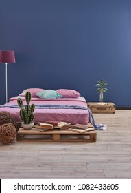 blue and pink details bedroom style. decorative bedroom yellow line wall and pink pillow.