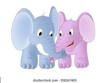 Blue and pink elephants with twisted trunks