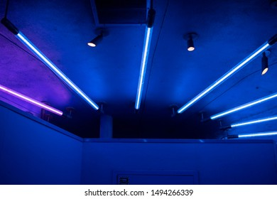 Blue and pink neon light strips running in a large half circle on the ceiling above lighting up predominantly blue over the pink.