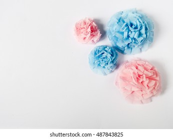 blue and pink paper flowers on white