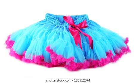 Blue and pink pettiskirt,  isolated on white