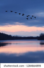 Blue Pink Sunset Over Lake