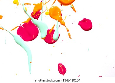 Blue, Pink Yellow and Orange Paint Splatters On White Background