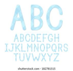 A blue plaid baby shower themed font set. Raster.