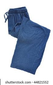 Blue Plaid Pajama Pants Isolated on a White Background