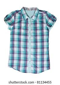 blue plaid shirt isolated on white background