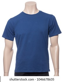 Blue plain shortsleeve cotton T-Shirt on a mannequin isolated on a white background
