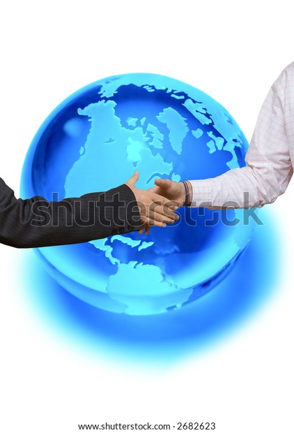 Blue planet crystal ball with handshake