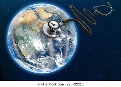 blue planet earth health and stethoscope diagnose Elements of this image furnished by NASA