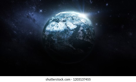 Blue planet Earth in the space. Galaxy on the background. Elements of this image furnished by NASA.