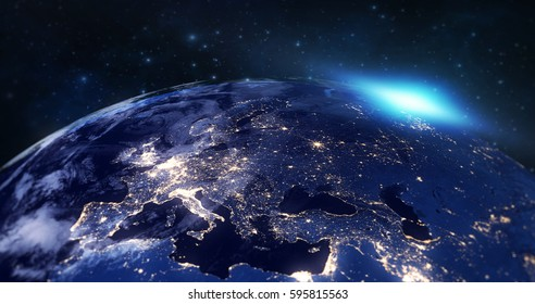 blue planet earth from space showing europe continent at night, globe world with blue glow edge and sun light sunrise on space in a star field background, some elements of this image furnished by NASA