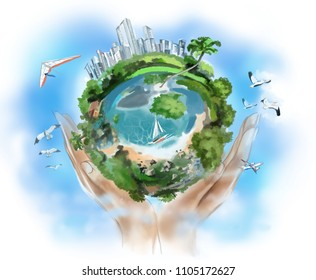 Blue planet with forests and ocean in the hands of man against the blue sky and clouds. Digital illustration.