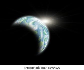 Blue planet in white sun