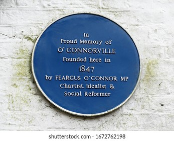 Blue plaque in proud memory of O'Connorville founded by Feargus O'Connor MP in 1847 at Heronsgate, Hertfordshire