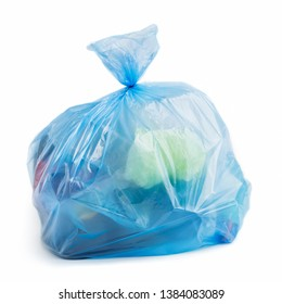 Blue plastic bag full of trash on white background, isolated