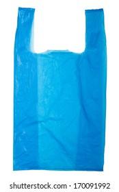Blue Plastic bag isolated on white background