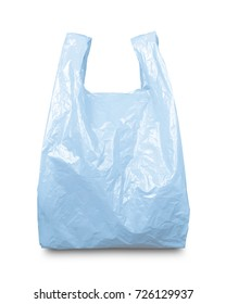 Blue plastic bag isolated on white with clipping path