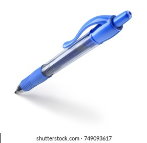 Blue plastic ball pen on white background with the shadow - 3D illustration