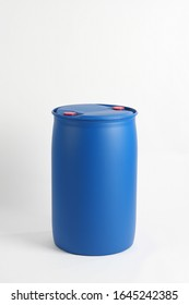 blue plastic barrel, container isolated on white background