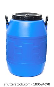 Blue plastic barrel isolated on white