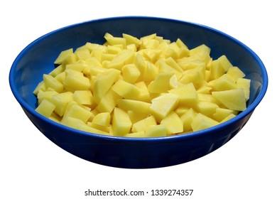 blue plastic basin with potatoes