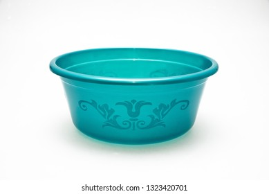 Blue plastic basin for washing and other various purposes