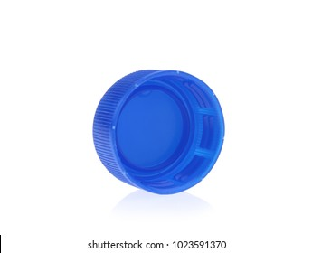 Blue plastic bottle cap isolated on white background.
