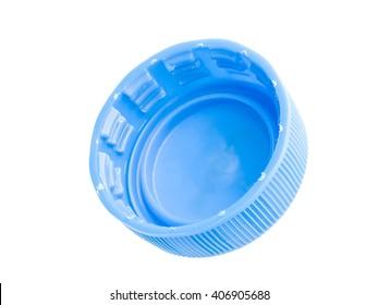 blue plastic bottle cap isolated on white background